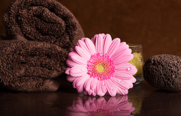 SPA still life with towels and gerberas on the brown surface