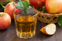apple cider or juice in a glass