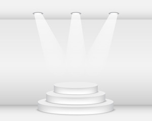 Empty podium illuminated with spotlights