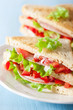 canvas print picture - sandwich with ham tomato and lettuce