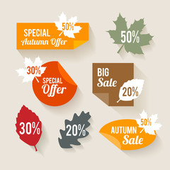 Autumn Sales Stickers Flat Design