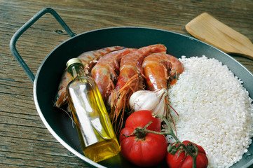ingredients to prepare a spanish paella or arroz negro