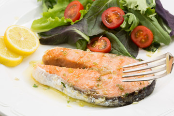 fresh wild salmon fillet roasted with salad