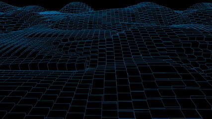 Blue random wave effect against black background