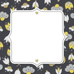 oliwkowe szare kwiaty i kropki deseń z ramką na ciemnym tle