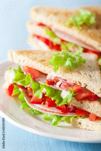 canvas print picture sandwich with ham tomato and lettuce