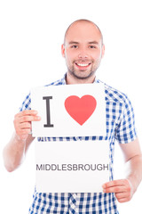 Man with city sign Middlesbrough.