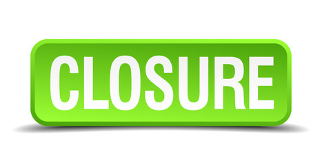 closure green 3d realistic square isolated button