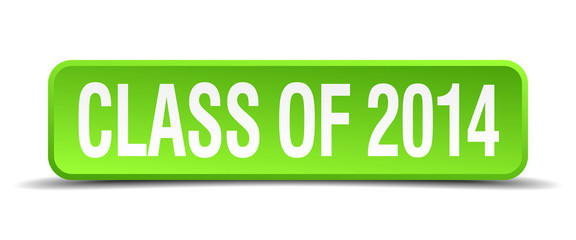 class of 2014 green 3d realistic square isolated button