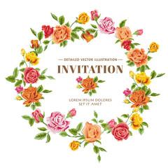 Vintage Roses Frame Card - in vector