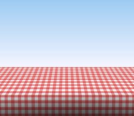 Tischdecke kariert mit blauem Himmel
