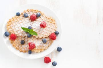 thin Belgian waffles with fresh berries, top view
