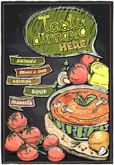 Chalkboard menu with soup.