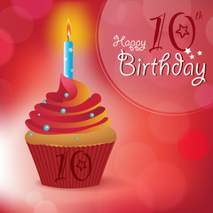 Happy 10th Birthday message -Bokeh Vector -cupcake & candle