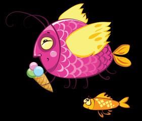 cartoon fishes characters, icecream gourmand