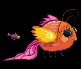 cartoon characters, cool fish wearing sunglasses