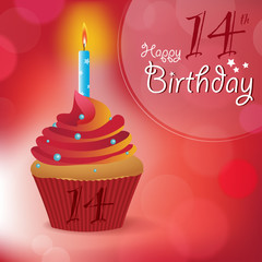 Happy 14th Birthday message -Bokeh Vector -cupcake & candle