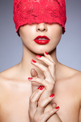 Woman in red ribbon
