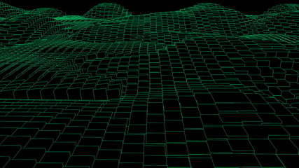 Green random wave effect against black background
