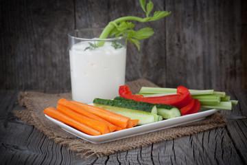 Fresh vegetables with yogurt dip