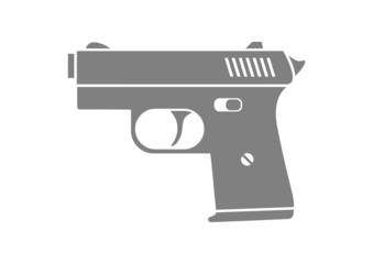 Grey gun icon on white background