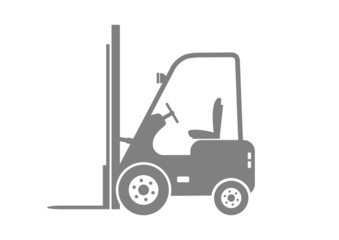 Grey forklift truck on white background