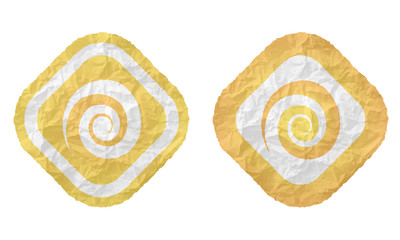 two frames with texture crumpled paper and spiral