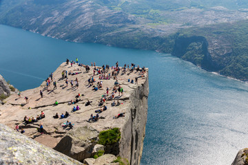 View over famous Preikestolen rock - above the Lysefjord, Norway
