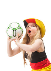woman with football and Germany flag