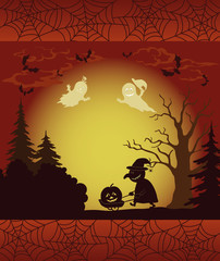 Halloween landscape, ghosts, pumpkins and witch
