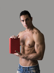 Topless Sexy Man Holding Red Book