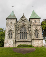 Exterior of Stavanger Domkirke, a medieval cathedral