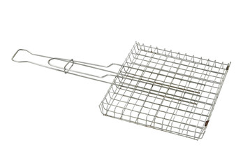 Stainless steel grill grid isolated on a white background