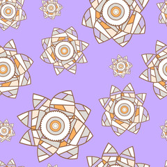 Violet seamless floral background with patchwork narcissuses