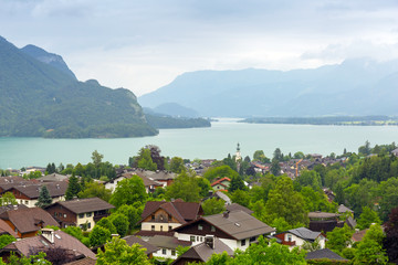 Village scenery in Alps mountains, Austria