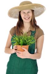 Gärtnerin mit Topfpflanze