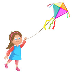 Cartoon kid playing with kite.