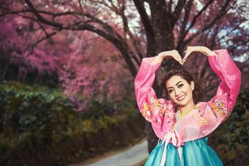 Hanbok: the traditional Korean dress and beautiful Asian girl