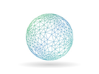 Geometric polygonal globe sphere unusual vector graphic template