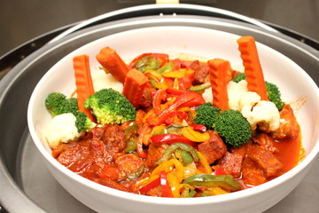 beef stew with  carrot and pepper