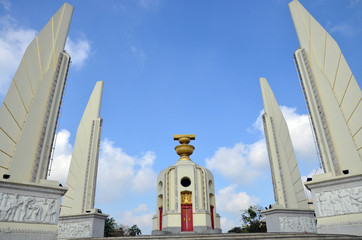 Democracy of Monument and  four wing-like structures which guard