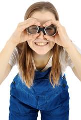 Arbeiter in Blaumann mit Schutzbrille
