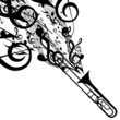 Vector Silhouette of Trombone with Musical Symbols - 68369276
