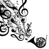 Vector Silhouette of French Horn with Musical Symbols