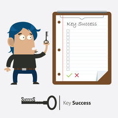 Businessman and Key of Success, Clipboard , Vector
