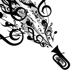 Vector Silhouette of Tuba with Musical Symbols
