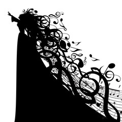 Vector Silhouette of Woman with Musical Symbols