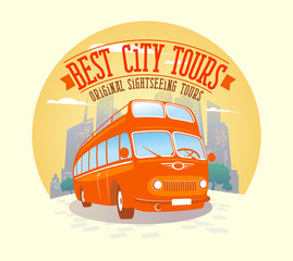 Best city tours design with double-decker bus against city backg