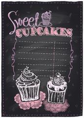 Sweet cupcakes chalkboard.