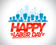 Happy labor day design with workers. - 68369615